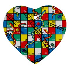 Snakes And Ladders Heart Ornament (two Sides)