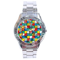 Snakes And Ladders Stainless Steel Analogue Watch