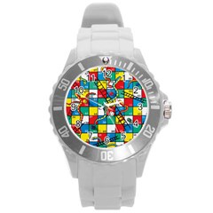 Snakes And Ladders Round Plastic Sport Watch (l)