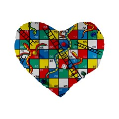 Snakes And Ladders Standard 16  Premium Heart Shape Cushions