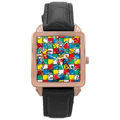 Snakes And Ladders Rose Gold Leather Watch