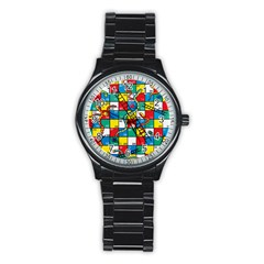 Snakes And Ladders Stainless Steel Round Watch