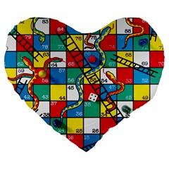 Snakes And Ladders Large 19  Premium Flano Heart Shape Cushions