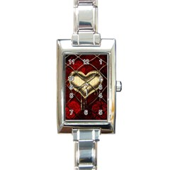 Love Hearth Background Scrapbooking Paper Rectangle Italian Charm Watch