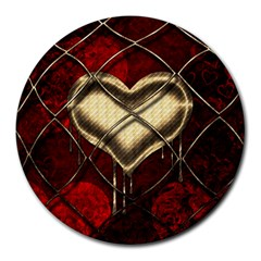 Love Hearth Background Scrapbooking Paper Round Mousepads