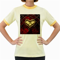 Love Hearth Background Scrapbooking Paper Women s Fitted Ringer T-Shirts