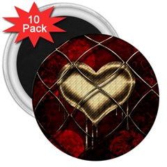 Love Hearth Background Scrapbooking Paper 3  Magnets (10 Pack)