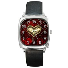 Love Hearth Background Scrapbooking Paper Square Metal Watch
