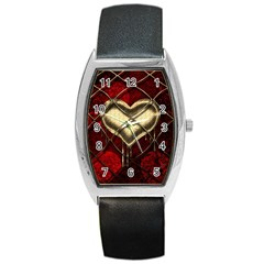 Love Hearth Background Scrapbooking Paper Barrel Style Metal Watch
