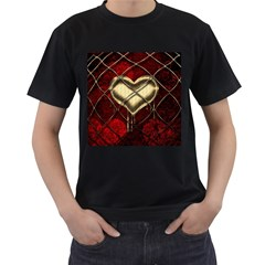 Love Hearth Background Scrapbooking Paper Men s T Shirt (black) (two Sided)