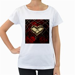 Love Hearth Background Scrapbooking Paper Women s Loose Fit T Shirt (white)