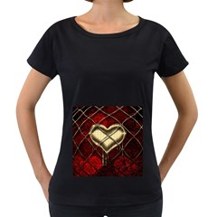 Love Hearth Background Scrapbooking Paper Women s Loose Fit T Shirt (black)