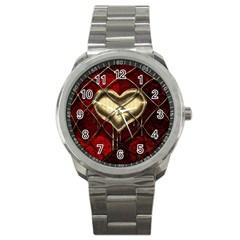 Love Hearth Background Scrapbooking Paper Sport Metal Watch