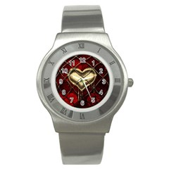 Love Hearth Background Scrapbooking Paper Stainless Steel Watch