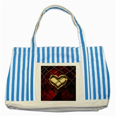 Love Hearth Background Scrapbooking Paper Striped Blue Tote Bag