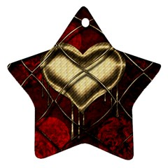 Love Hearth Background Scrapbooking Paper Star Ornament (Two Sides)