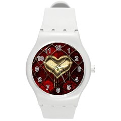 Love Hearth Background Scrapbooking Paper Round Plastic Sport Watch (M)