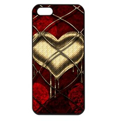 Love Hearth Background Scrapbooking Paper Apple Iphone 5 Seamless Case (black)