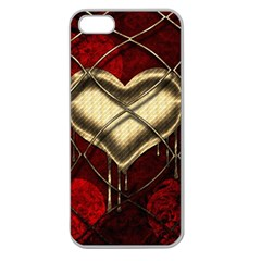 Love Hearth Background Scrapbooking Paper Apple Seamless Iphone 5 Case (clear)