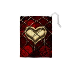 Love Hearth Background Scrapbooking Paper Drawstring Pouches (Small)