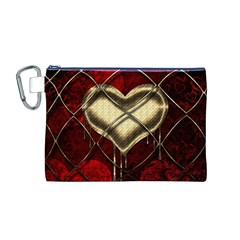 Love Hearth Background Scrapbooking Paper Canvas Cosmetic Bag (m)
