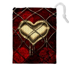 Love Hearth Background Scrapbooking Paper Drawstring Pouches (xxl)