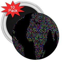 World Earth Planet Globe Map 3  Magnets (10 Pack)