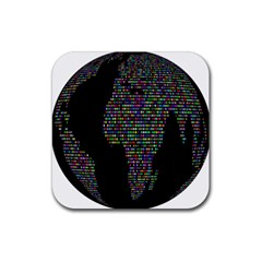 World Earth Planet Globe Map Rubber Square Coaster (4 Pack)