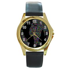 World Earth Planet Globe Map Round Gold Metal Watch