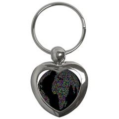 World Earth Planet Globe Map Key Chains (heart)