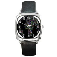 World Earth Planet Globe Map Square Metal Watch