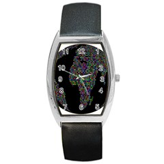 World Earth Planet Globe Map Barrel Style Metal Watch