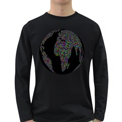 World Earth Planet Globe Map Long Sleeve Dark T Shirts