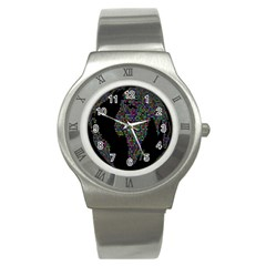 World Earth Planet Globe Map Stainless Steel Watch