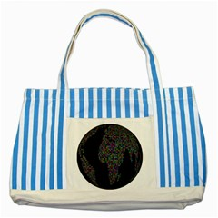 World Earth Planet Globe Map Striped Blue Tote Bag