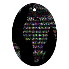 World Earth Planet Globe Map Oval Ornament (Two Sides)