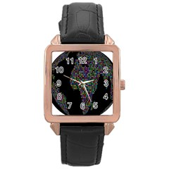World Earth Planet Globe Map Rose Gold Leather Watch