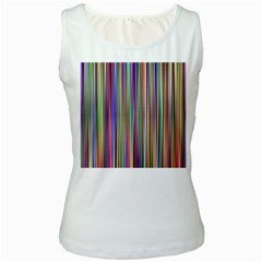 Striped Stripes Abstract Geometric Women s White Tank Top