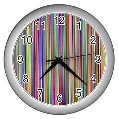 Striped Stripes Abstract Geometric Wall Clocks (silver)