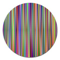 Striped Stripes Abstract Geometric Magnet 5  (round)