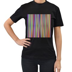 Striped Stripes Abstract Geometric Women s T Shirt (black) (two Sided)