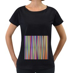 Striped Stripes Abstract Geometric Women s Loose Fit T Shirt (black)