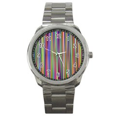 Striped Stripes Abstract Geometric Sport Metal Watch
