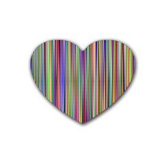 Striped Stripes Abstract Geometric Rubber Coaster (Heart)