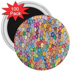Sakura Cherry Blossom Floral 3  Magnets (100 Pack)