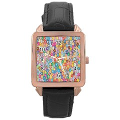 Sakura Cherry Blossom Floral Rose Gold Leather Watch