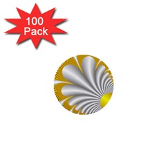Fractal Gold Palm Tree  1  Mini Buttons (100 Pack)