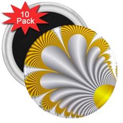 Fractal Gold Palm Tree  3  Magnets (10 Pack)