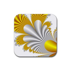 Fractal Gold Palm Tree  Rubber Square Coaster (4 Pack)