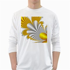 Fractal Gold Palm Tree  White Long Sleeve T Shirts